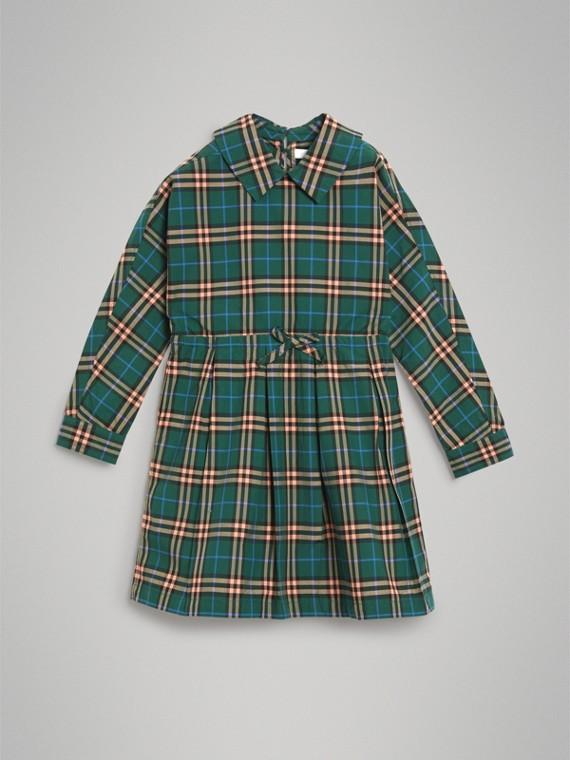 Baumwollkleid im Karodesign mit Zugbandverschluss (Dunkles Waldgrün)