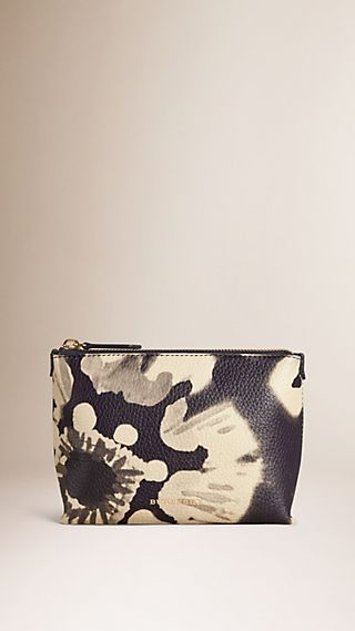 Medium Floral Tie-dye Grainy Leather Beauty Pouch