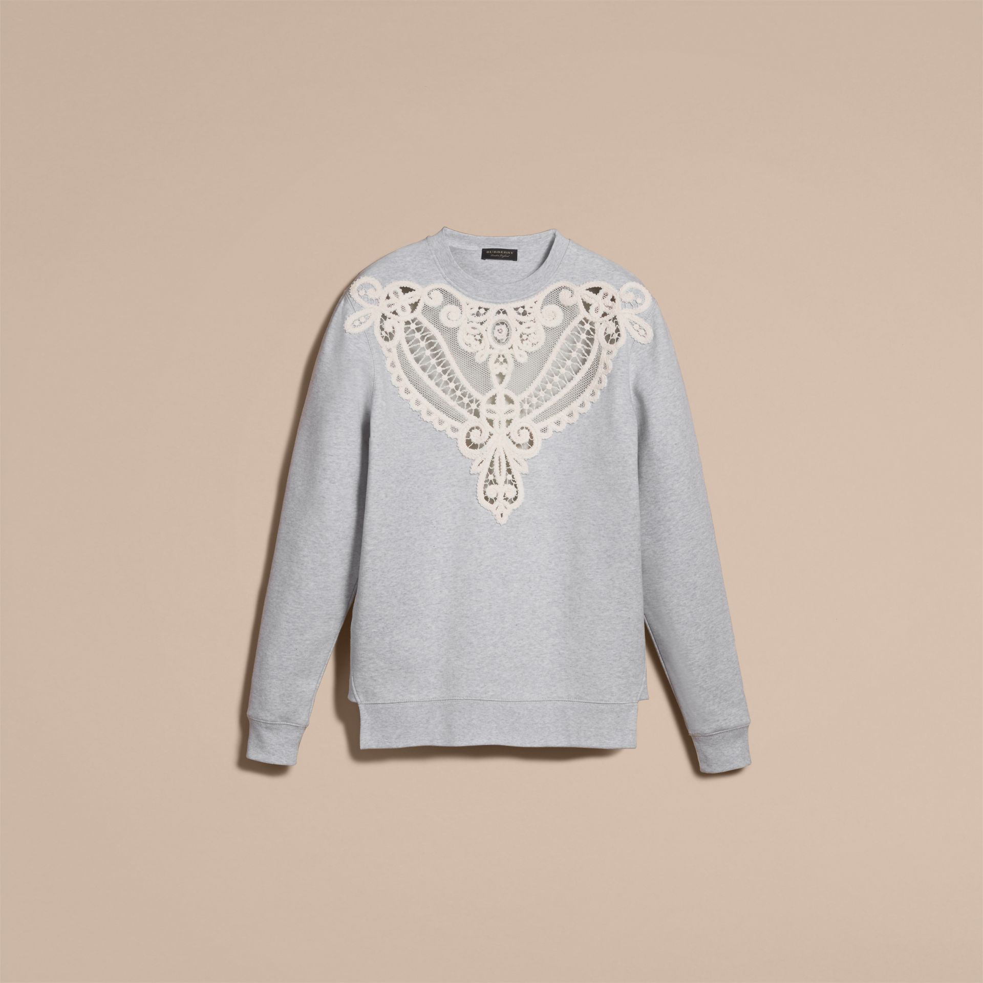 Unisex Lace Cutwork Sweatshirt in Light Grey Melange - Women | Burberry Singapore - gallery image 4