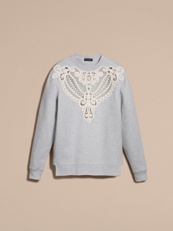Unisex Lace Cutwork Sweatshirt in Light Grey Melange - Women | Burberry Singapore - cell image 3