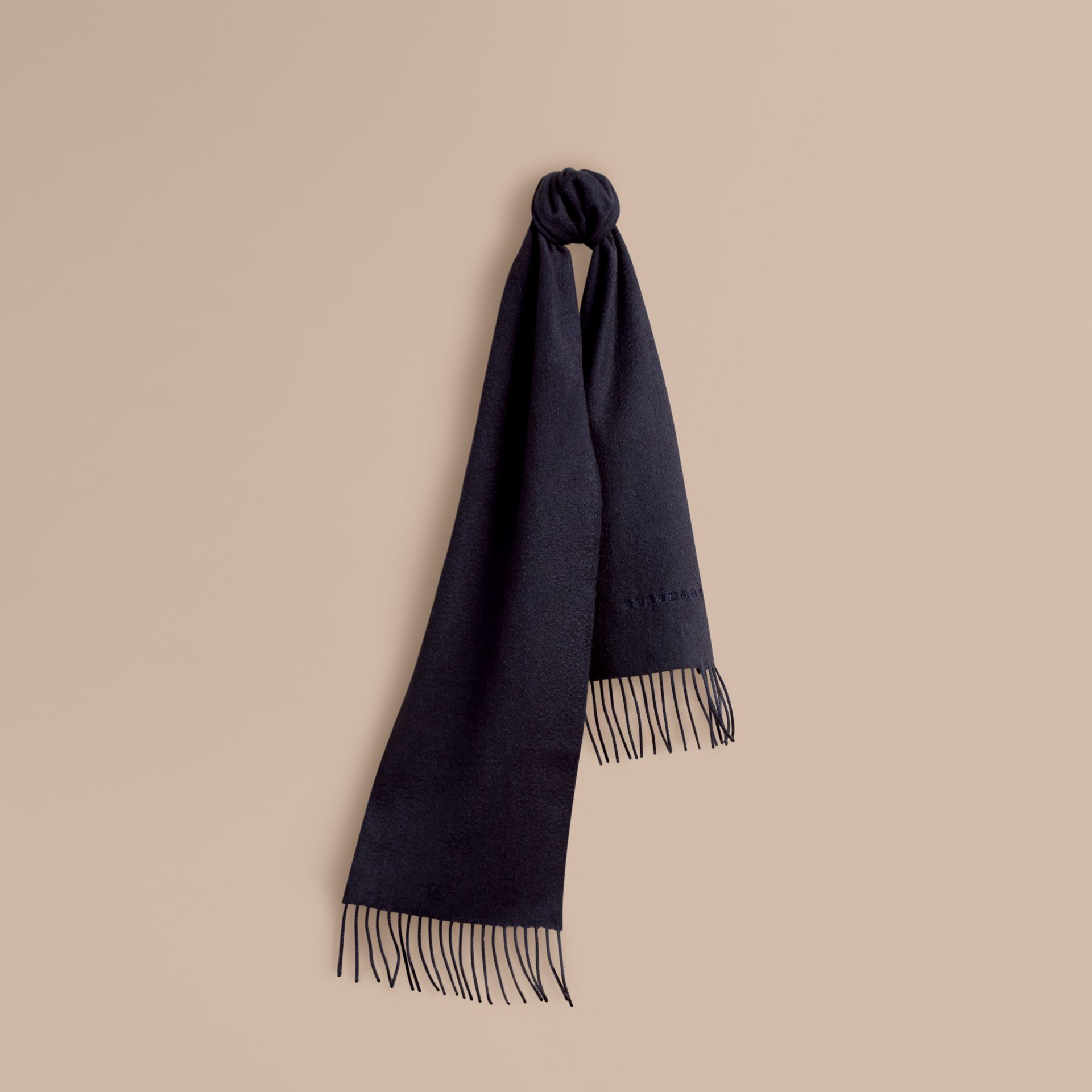 The Mini Classic Cashmere Scarf in Navy | Burberry Hong Kong - gallery image 5