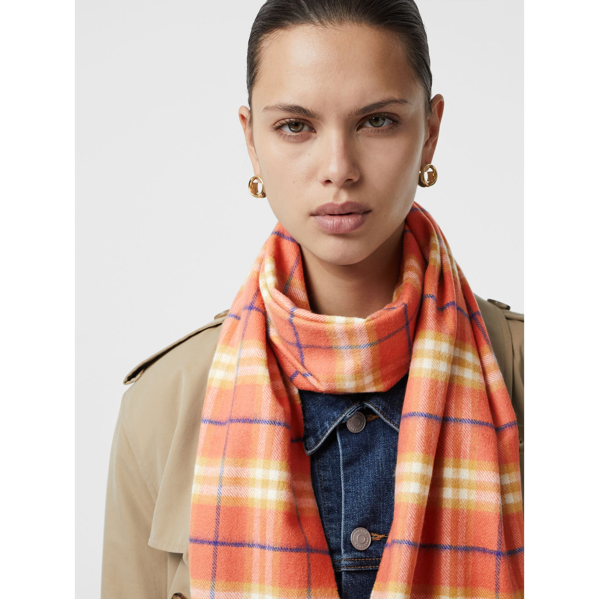 The Classic Vintage Check Cashmere Scarf in Coral | Burberry Singapore - gallery image 5