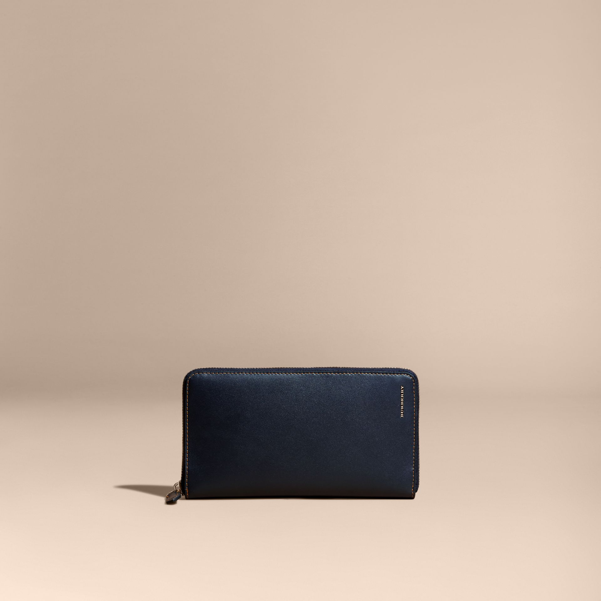 Dark navy Smooth Leather Ziparound Wallet Dark Navy - gallery image 6