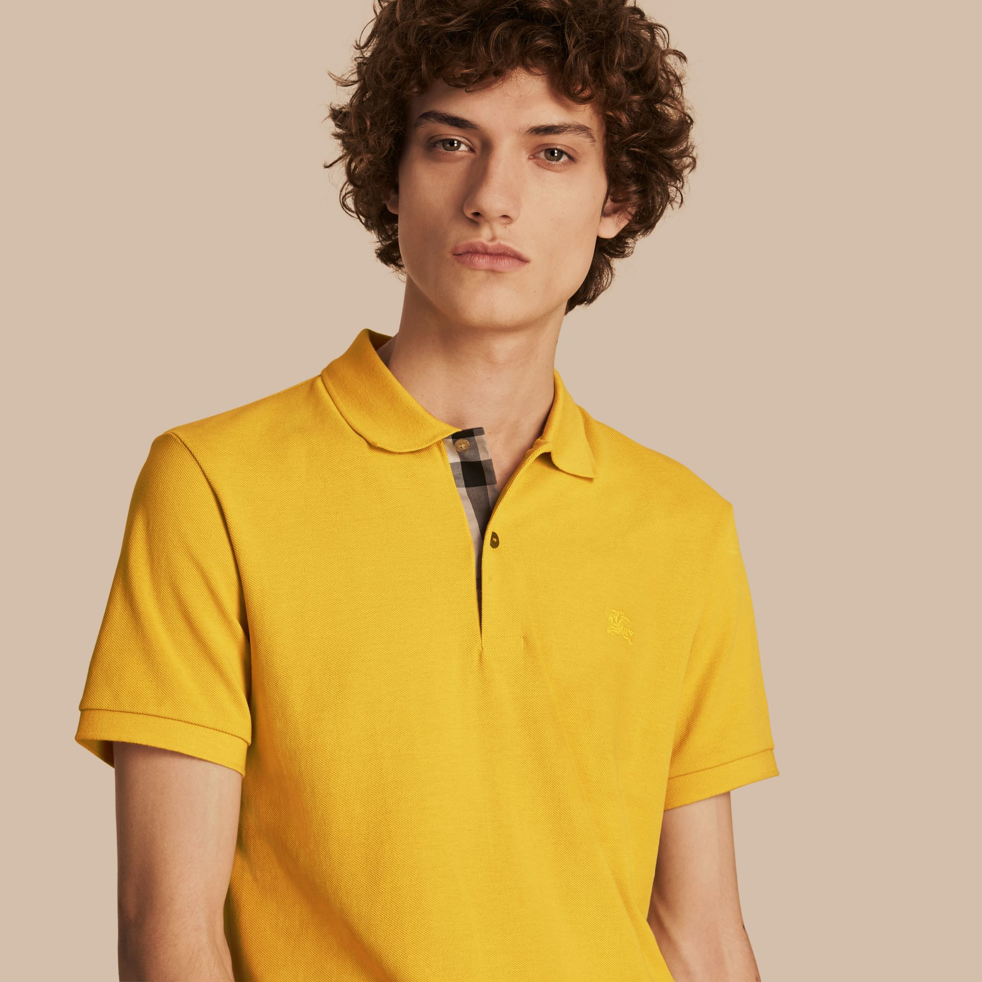 Check Placket Cotton Piqué Polo Shirt in Daffodil - gallery image 1
