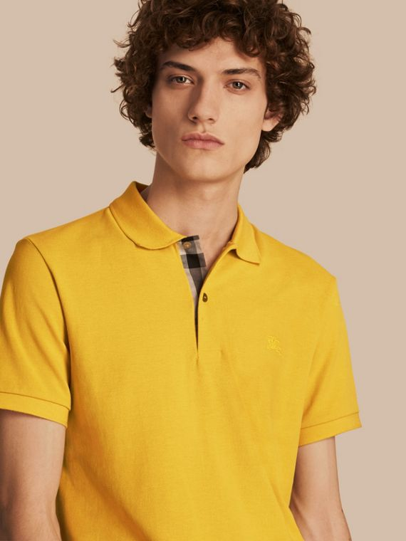 Check Placket Cotton Piqué Polo Shirt in Daffodil
