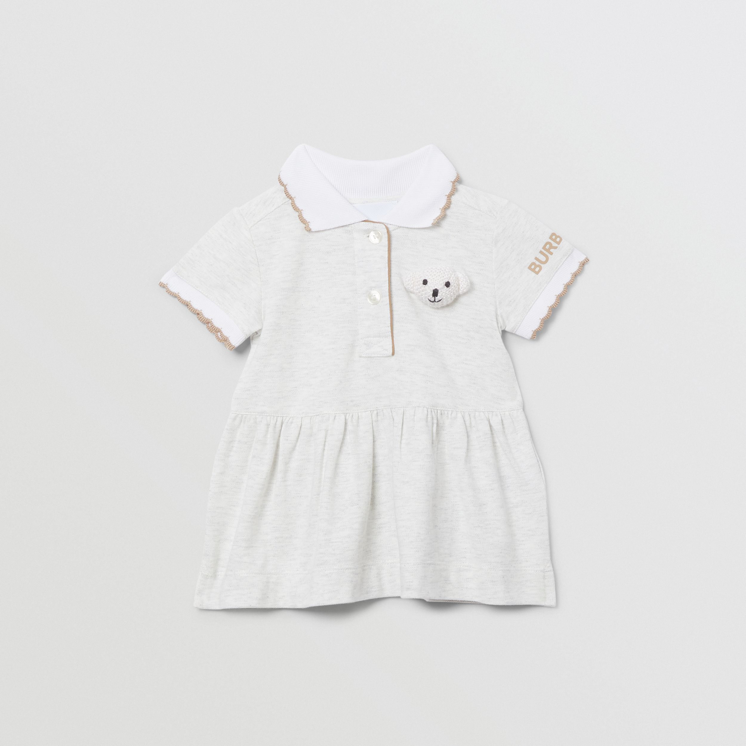 Thomas Bear Detail Stretch Cotton Dress with Bloomers in White Melange - Children | Burberry - 1