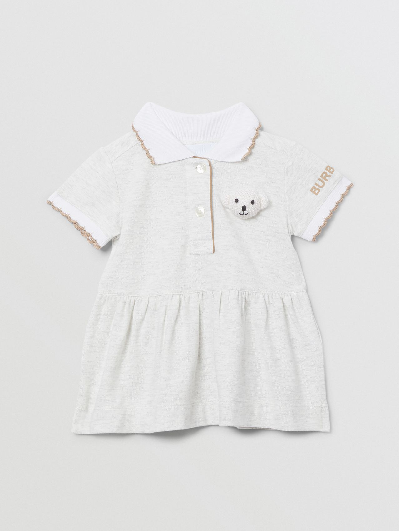 Thomas Bear Detail Stretch Cotton Dress with Bloomers in White Melange