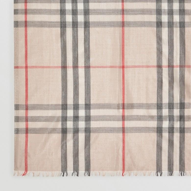 Burberry - Écharpe en laine et soie avec motif check métallisé - 2