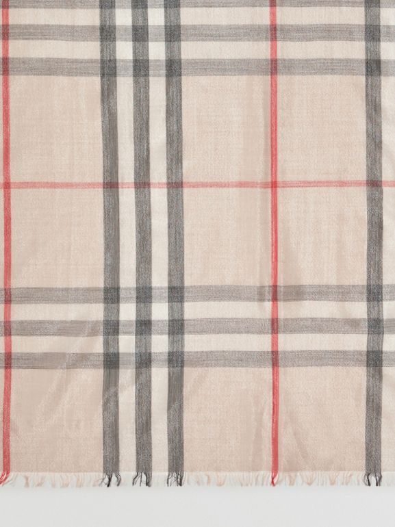 Metallic Check Silk and Wool Scarf in Stone/ Silver | Burberry - cell image 1