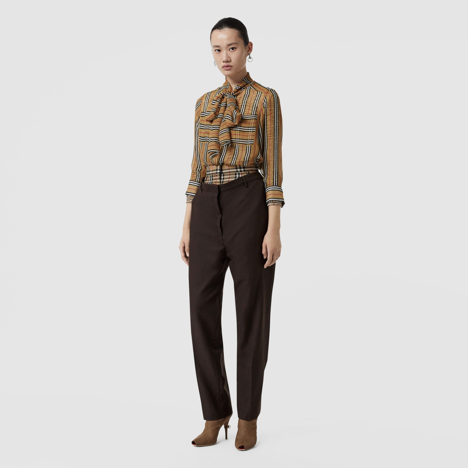 Vintage Check Panel Double-waist Wool Trousers in Black - Women | Burberry - gallery image 0