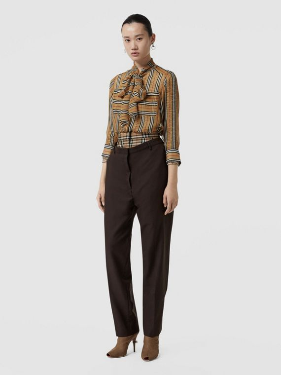 Vintage Check Panel Double-waist Wool Trousers in Black