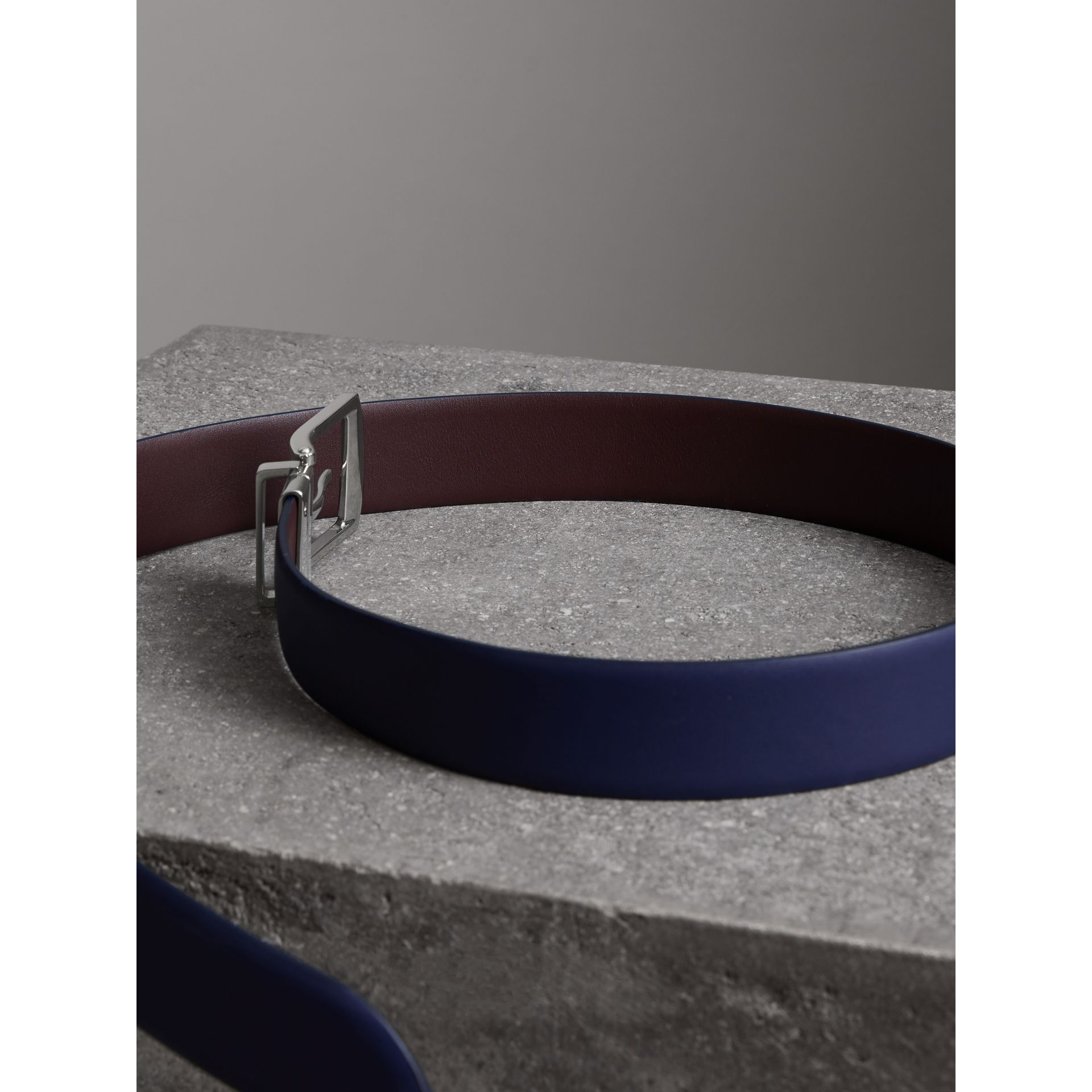 Reversible Leather Belt in Canvas Blue - Men | Burberry - gallery image 3