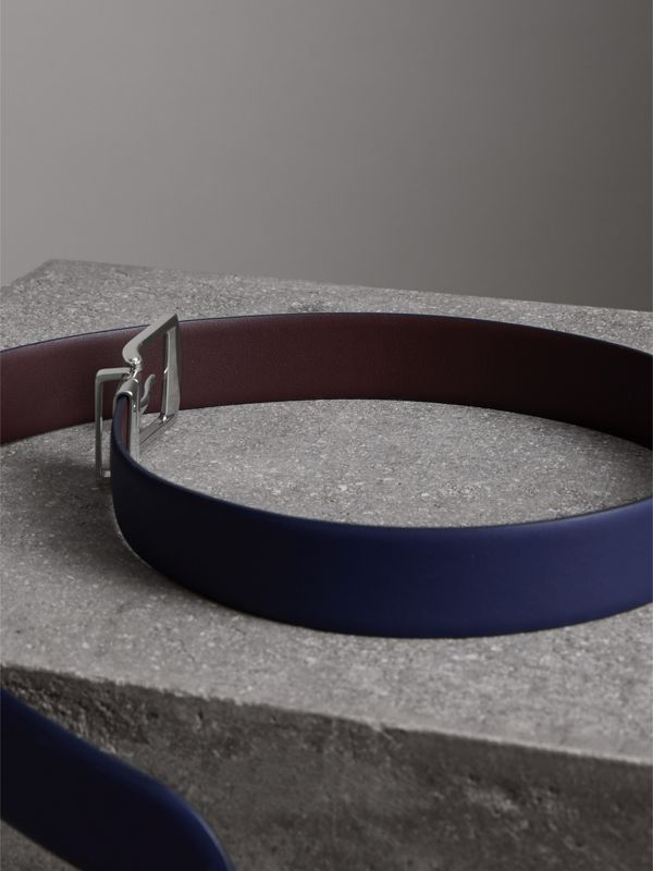 Reversible Leather Belt in Canvas Blue - Men | Burberry - cell image 3