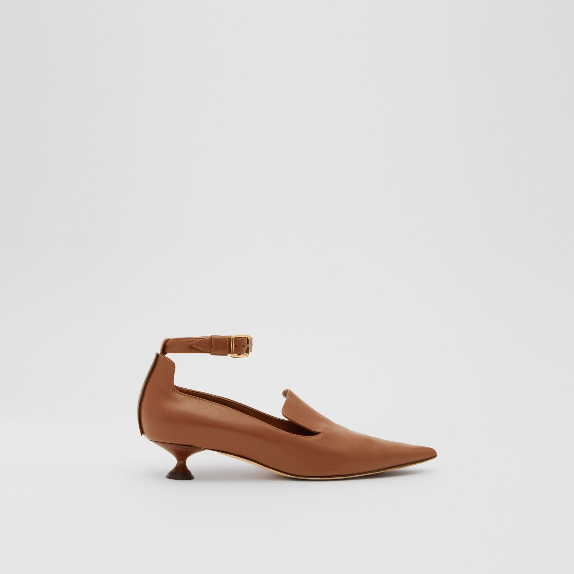 Leather Point-toe Kitten-heel Pumps in Soft Camel - Women | Burberry - gallery image 4