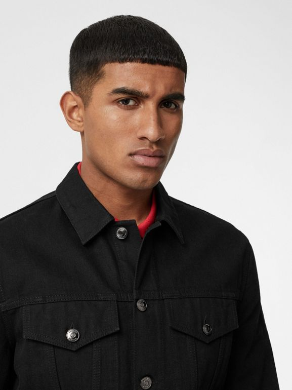 Logo Print Japanese Denim Jacket in Black - Men | Burberry - cell image 1
