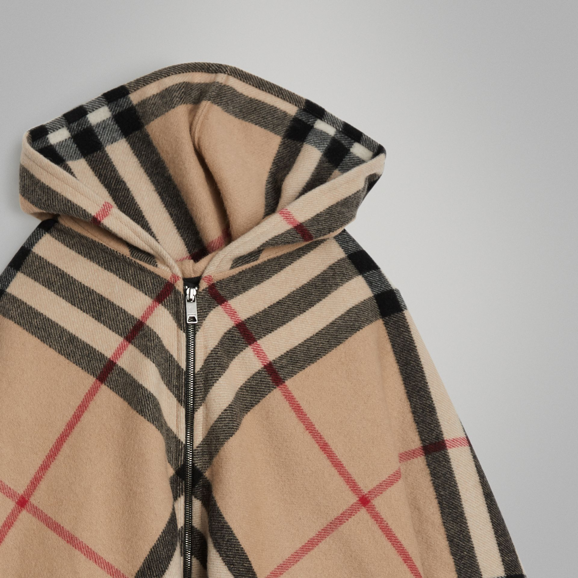 Check Wool Cashmere Hooded Poncho in New Classic | Burberry - gallery image 4