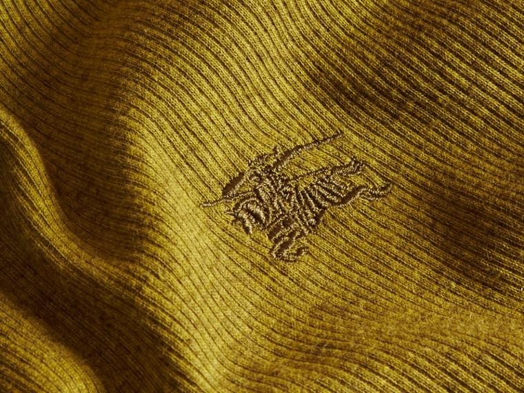 Olive green Camisa Henley de lã e algodão canelados Olive Green - cell image 1
