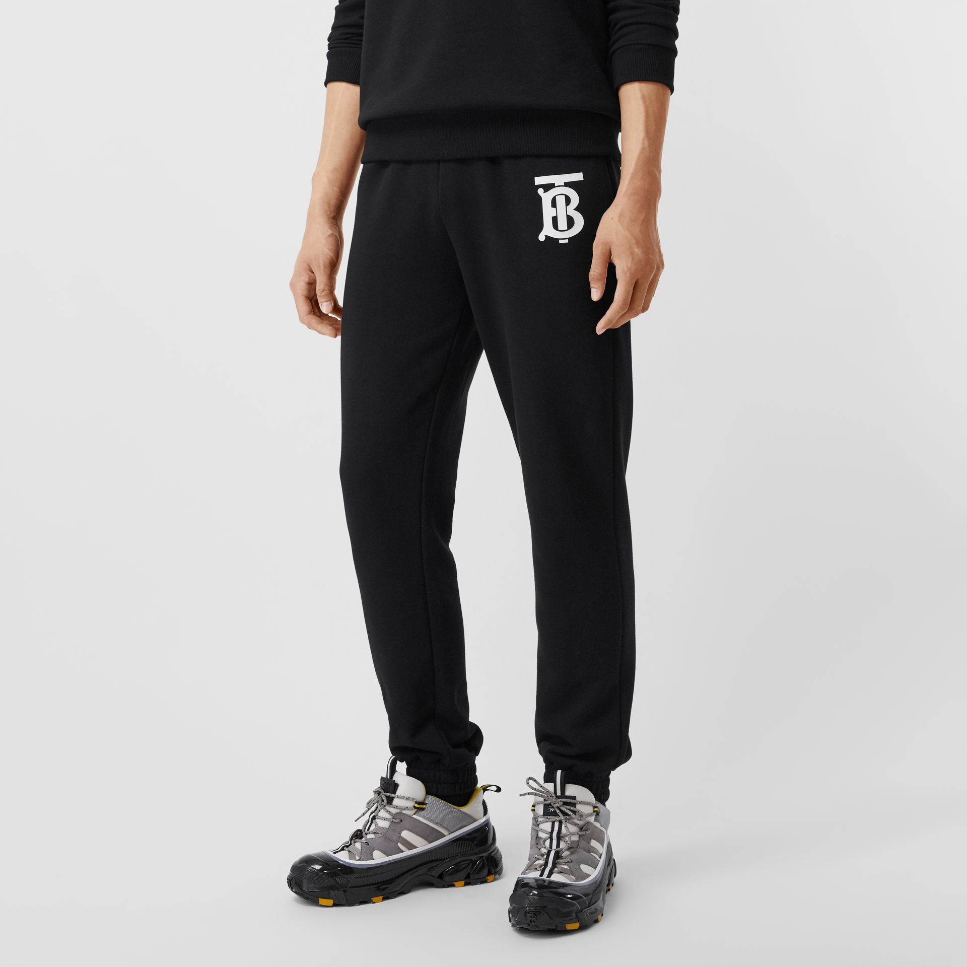 Monogram Motif Cotton Trackpants in Black - Men | Burberry Hong Kong S.A.R - gallery image 4