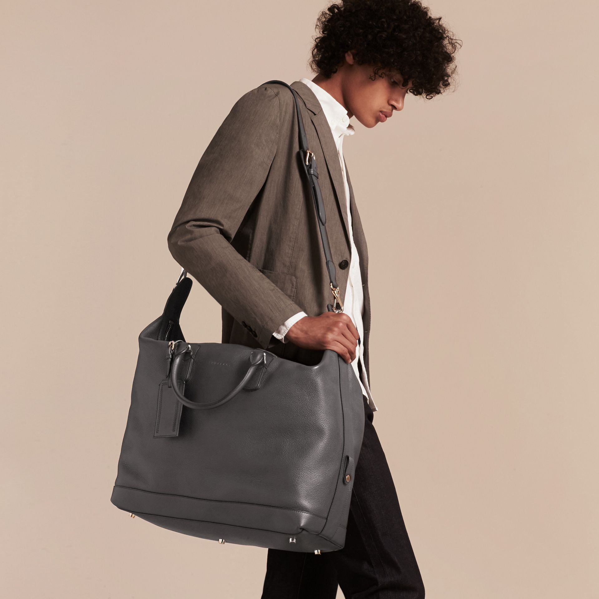 Charcoal Grainy Leather Holdall Charcoal - gallery image 3