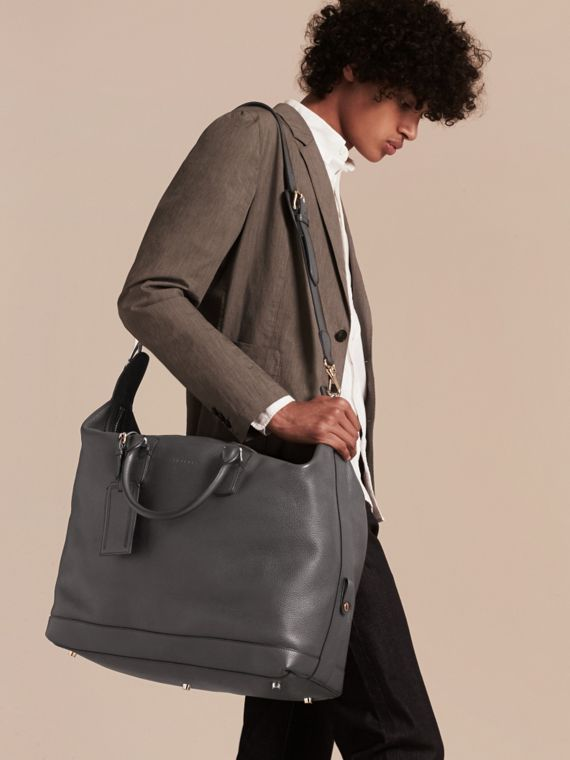 Charcoal Grainy Leather Holdall Charcoal - cell image 2
