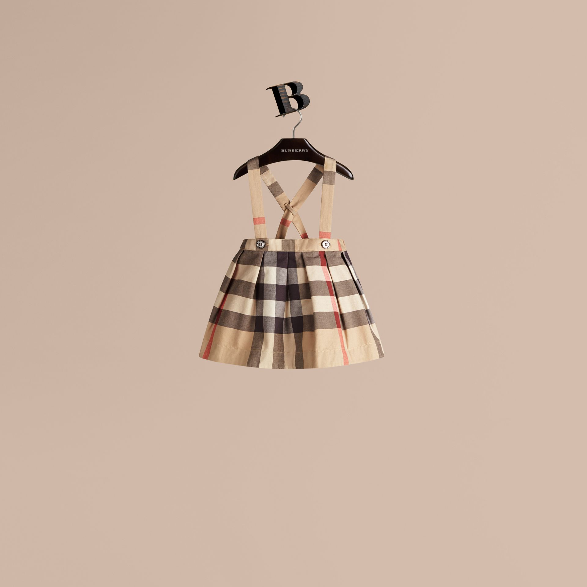 New classic check Check Cotton Skirt with Detachable Straps - gallery image 1