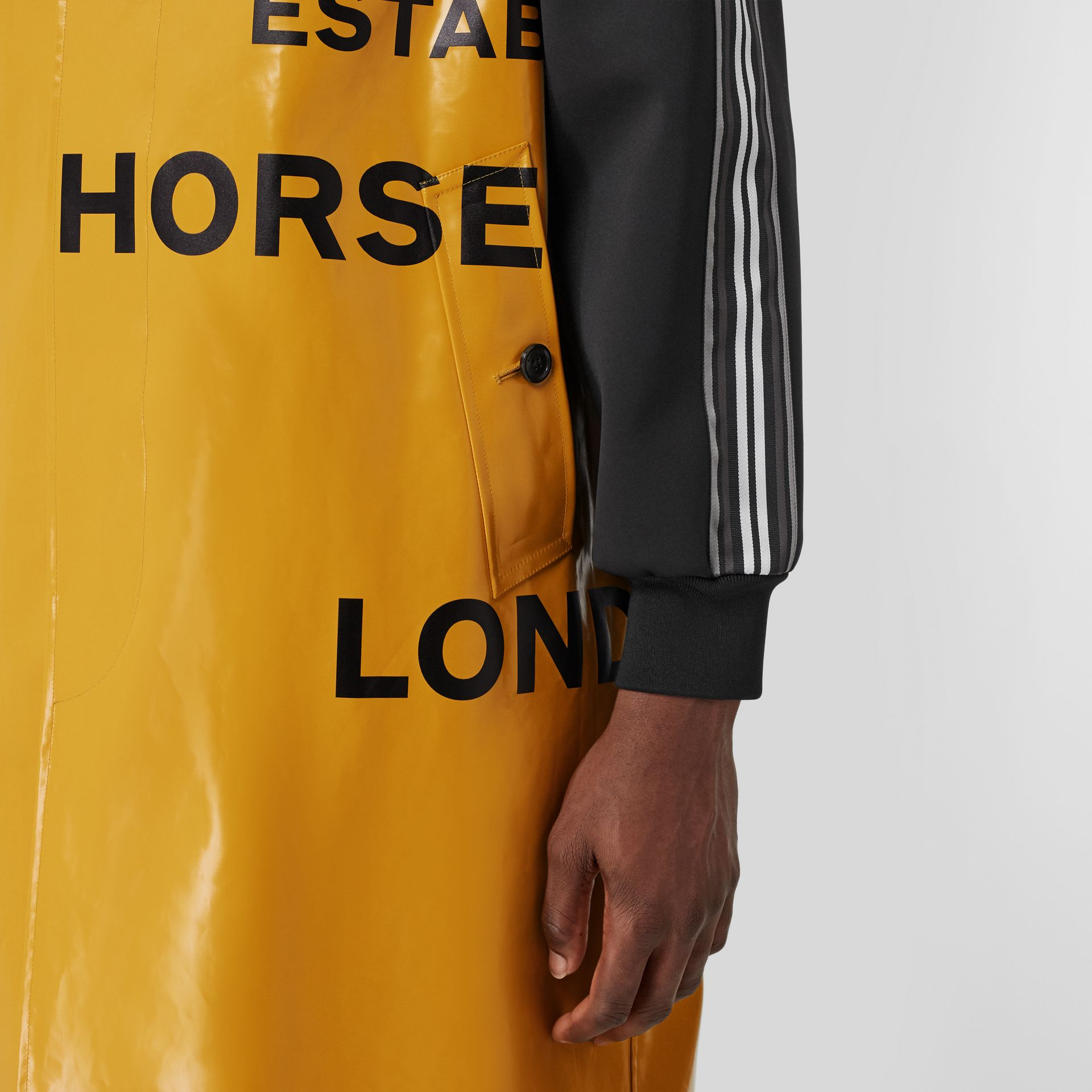 Track Top Panel Horseferry Print Car Coat in Yellow - Men | Burberry United Kingdom - gallery image 4