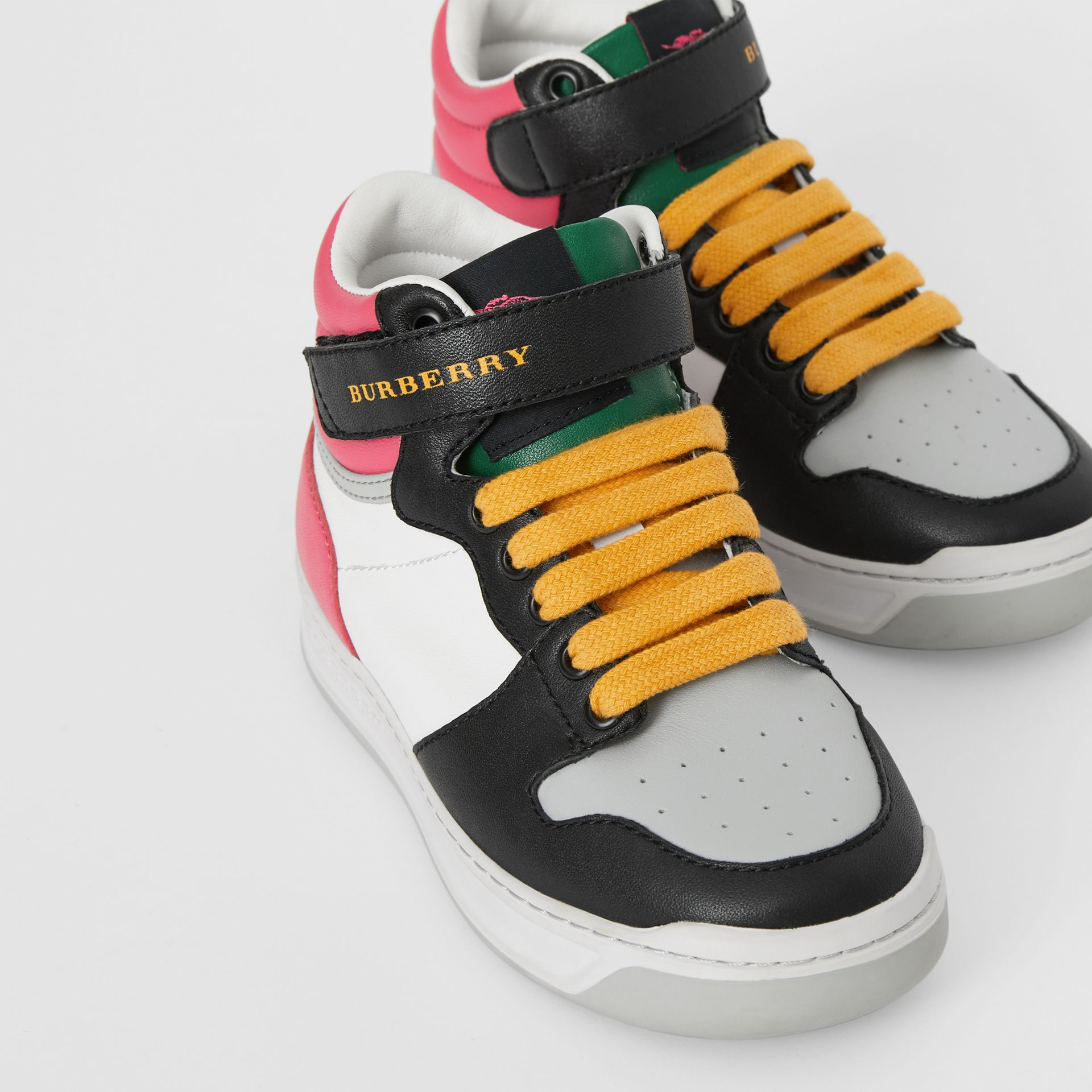 Colour Block Leather High-top Sneakers in Bright Rose - Children | Burberry - gallery image 1