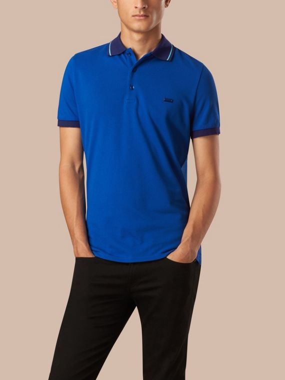 Contrast Trim Cotton Piqué Polo Shirt Cobalt/pale Prediot Blue