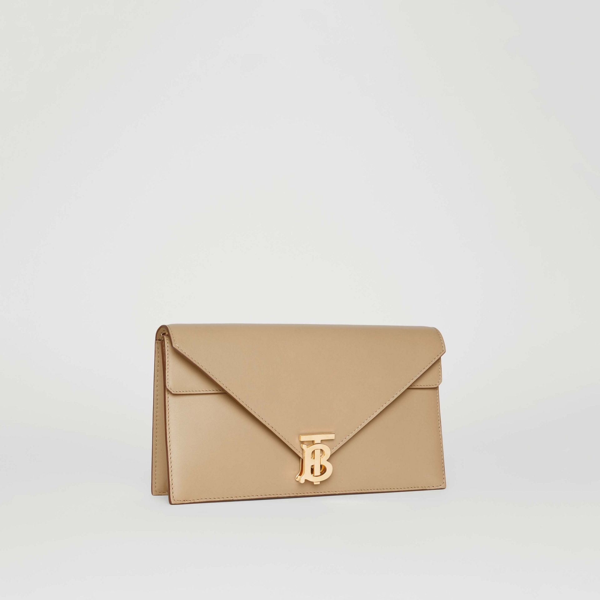 Small Leather TB Envelope Clutch in Honey - Women | Burberry - gallery image 6