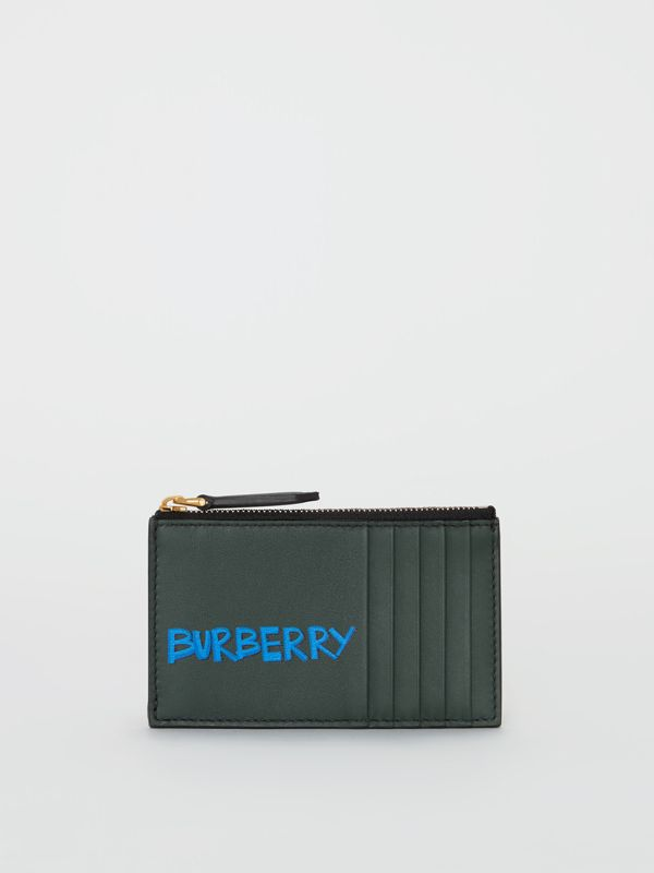 Graffiti Print Leather Zip Card Case in Deep Bottle Green | Burberry - cell image 2