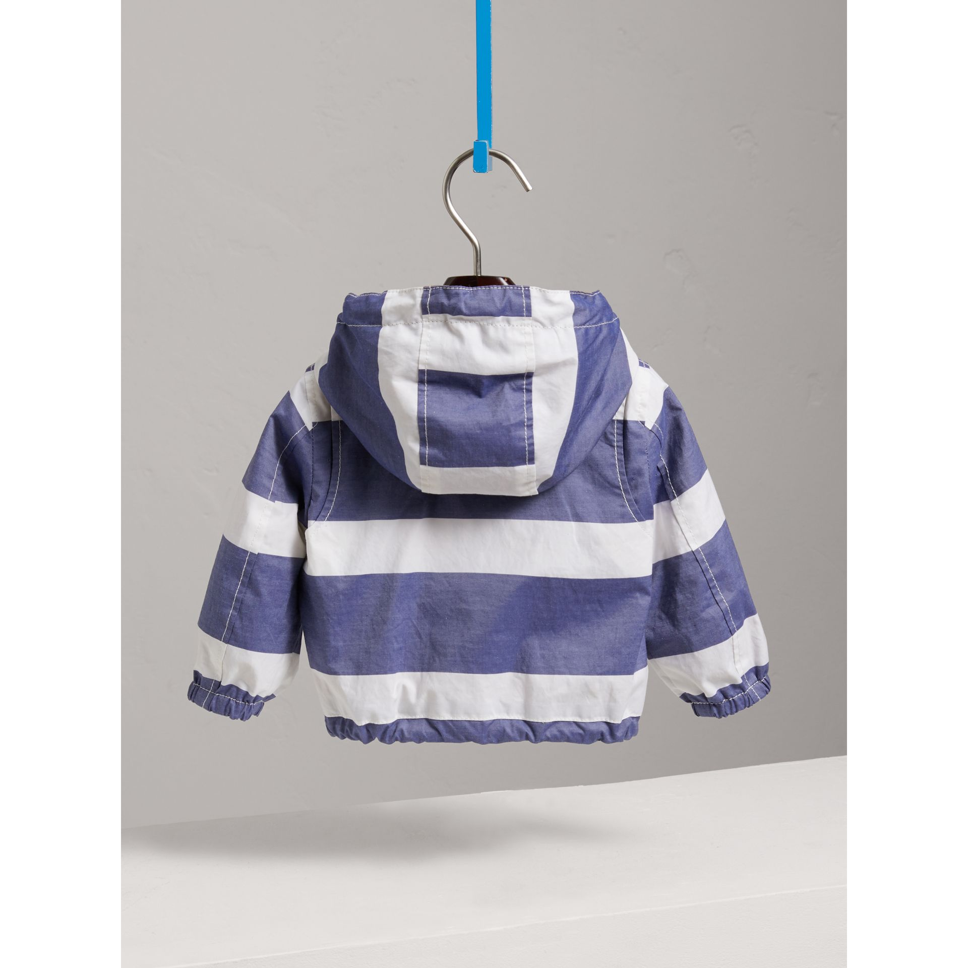 Reversible Stripe and Vintage Check Hooded Jacket in Navy/white - Children | Burberry - gallery image 3