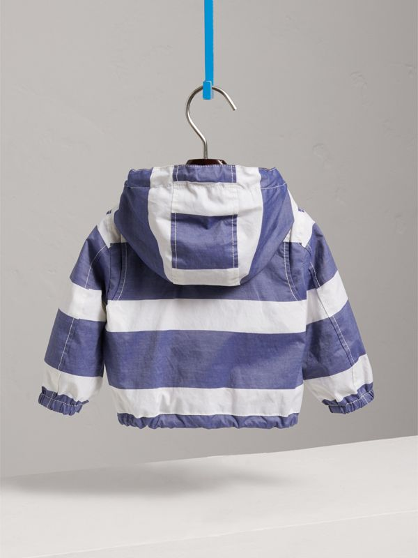 Reversible Stripe and Vintage Check Hooded Jacket in Navy/white - Children | Burberry - cell image 3