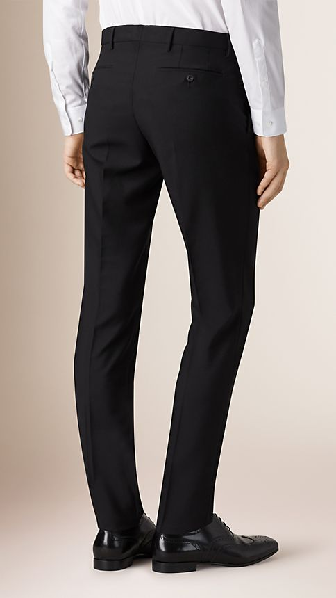 Black Slim Fit Wool Mohair Trousers - Image 2