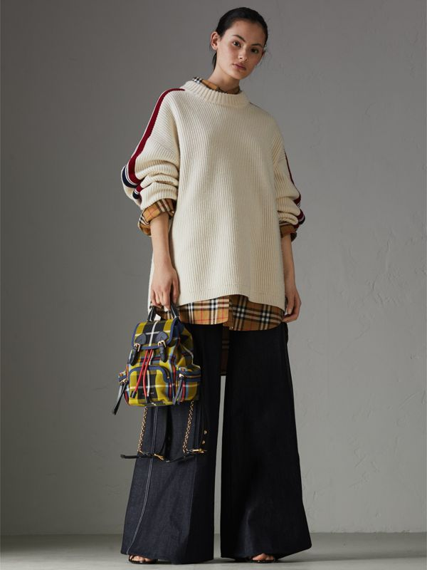 The Small Rucksack in Check Cotton and Leather in Flax Yellow - Women   Burberry - cell image 2
