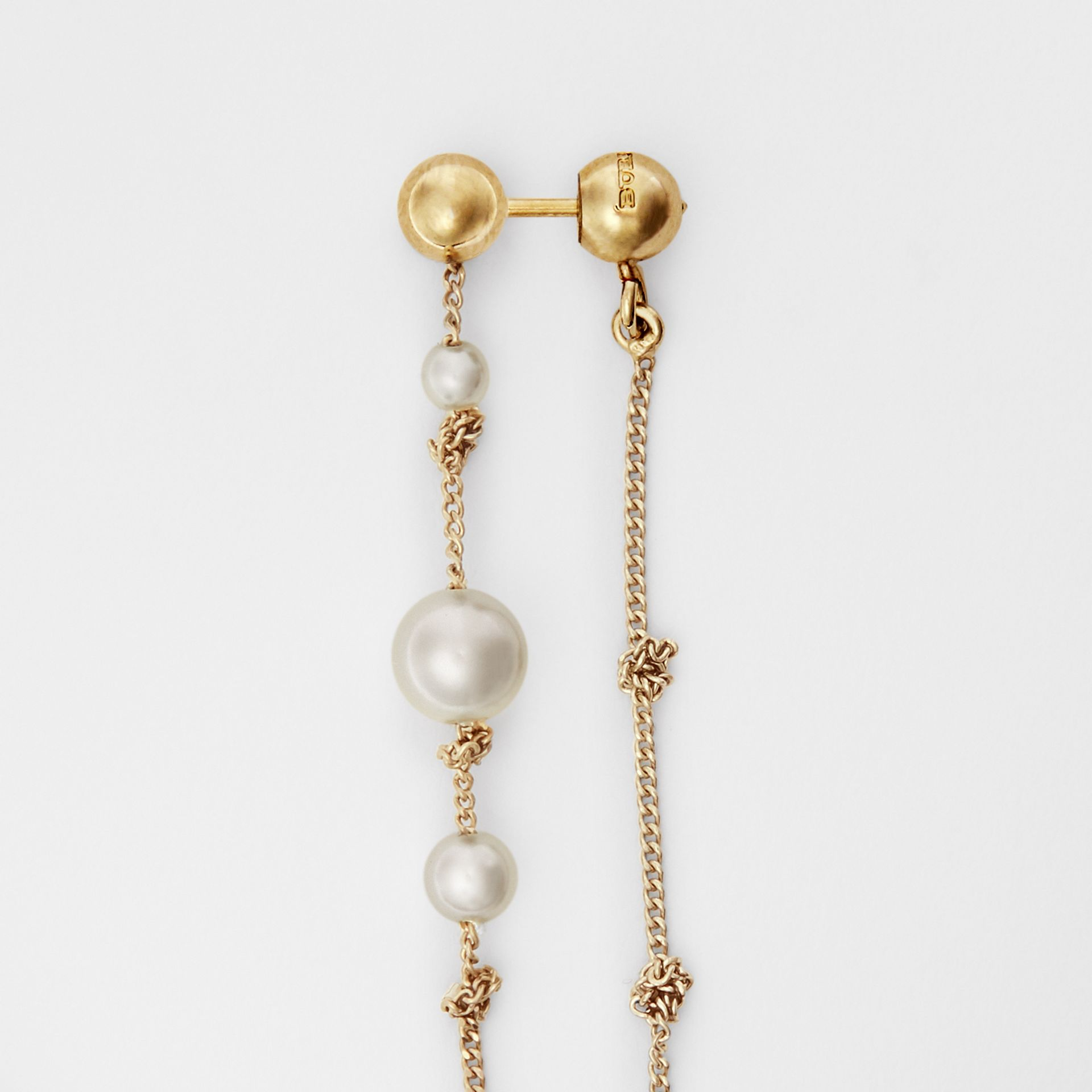 Faux Pearl Gold-plated Drop Earrings in Light - Women | Burberry - gallery image 3