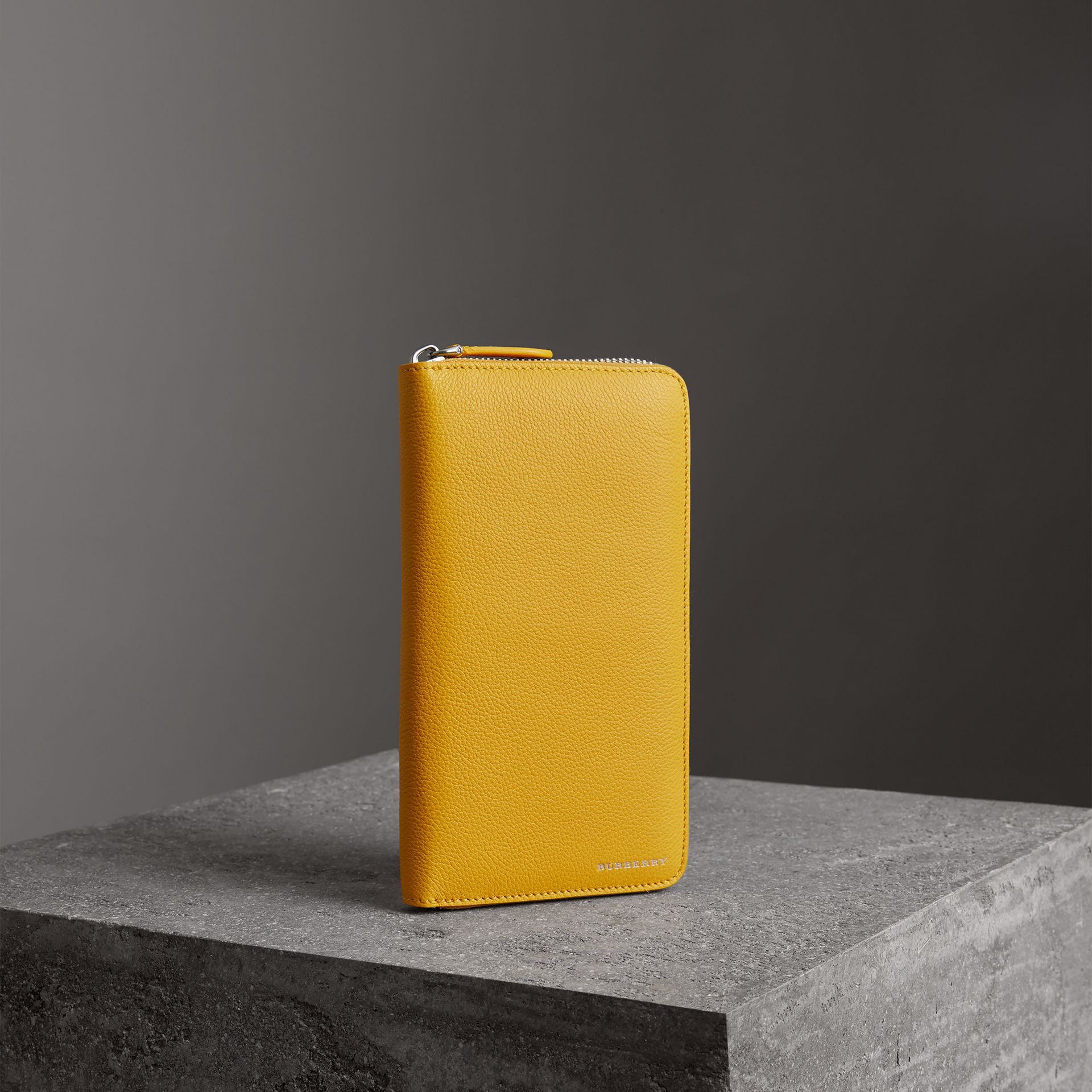 Grainy Leather Ziparound Wallet in Bright Ochre Yellow - Men | Burberry Singapore - gallery image 0