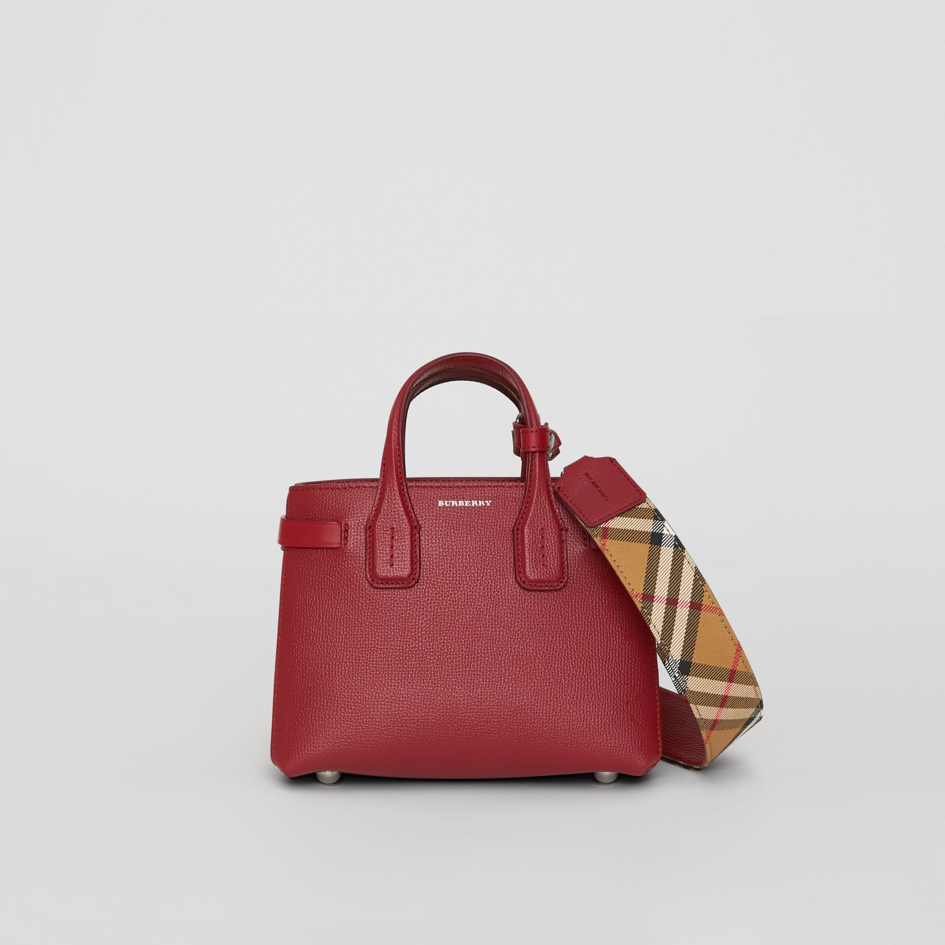 The Baby Banner in Leather and Vintage Check in Crimson - Women | Burberry United Kingdom - gallery image 0