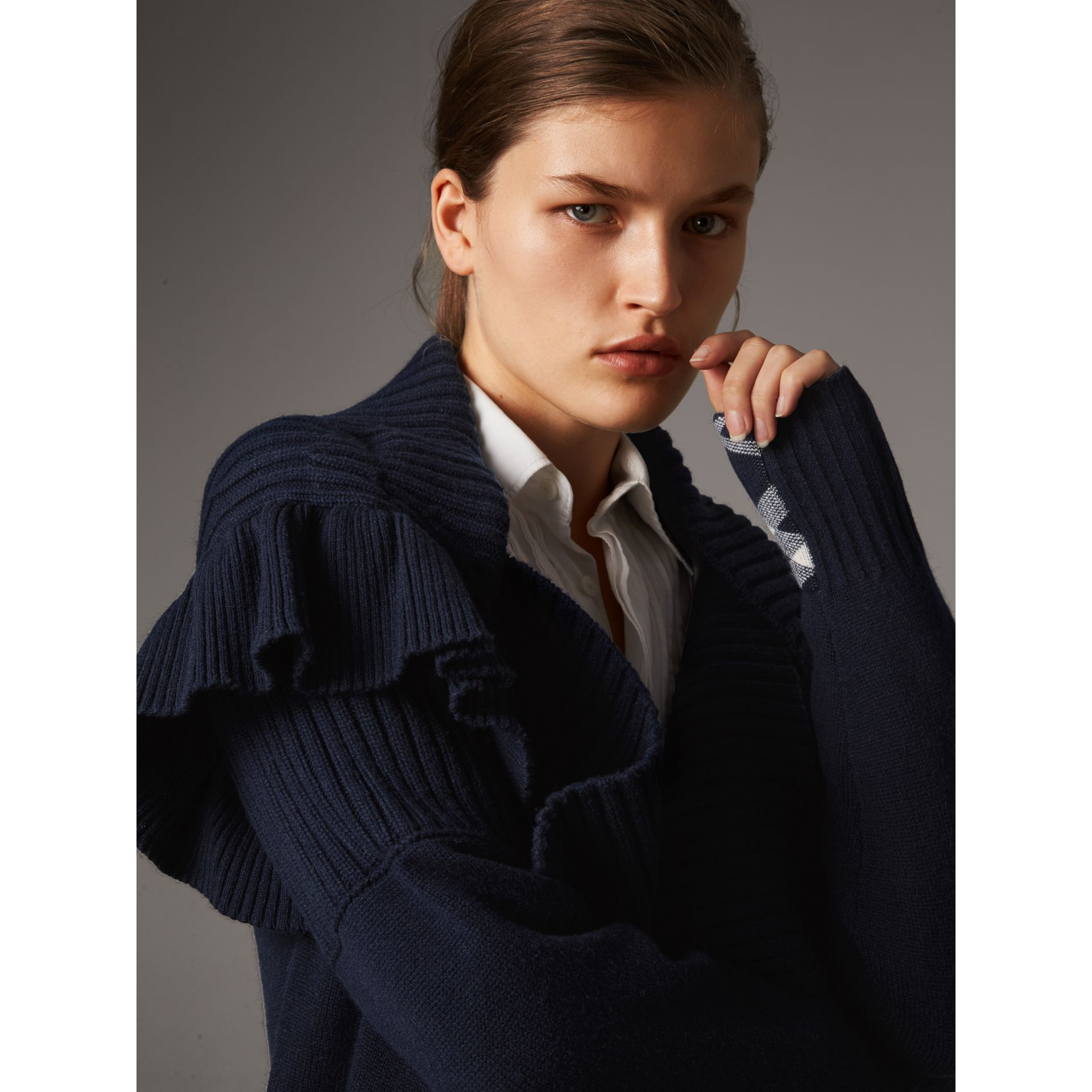 Ruffle Detail Wool Cashmere Cardigan in Navy - Women | Burberry - gallery image 2