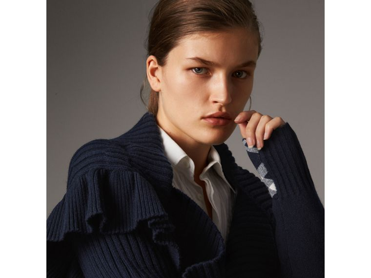 Ruffle Detail Wool Cashmere Cardigan in Navy - Women | Burberry - cell image 1
