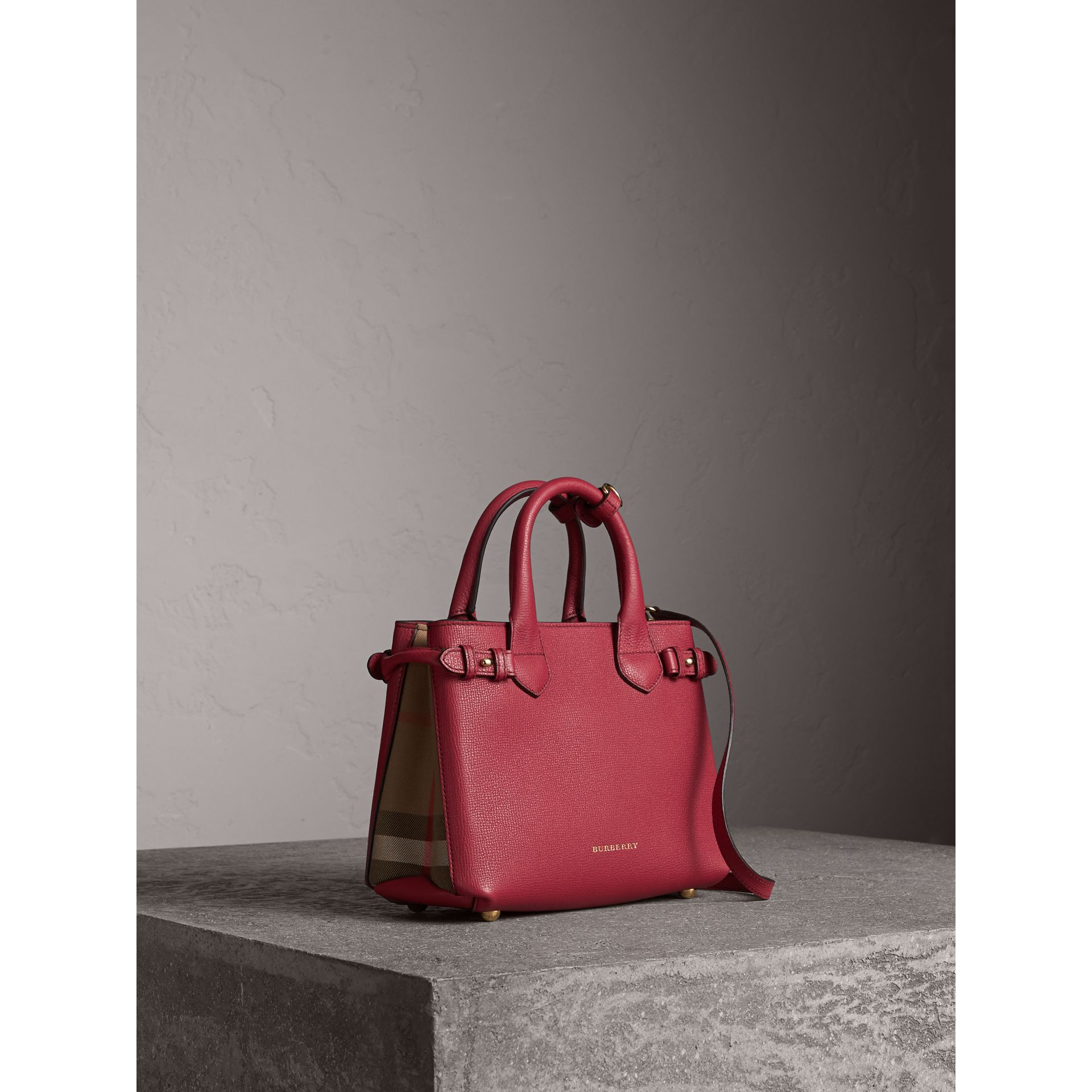 The Small Banner in Leather and House Check in Russet Red - Women | Burberry - gallery image 1