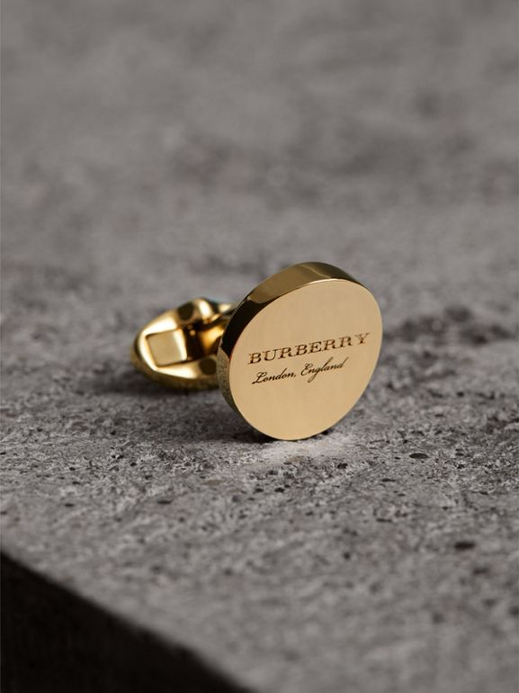 Engraved Motif Round Cufflinks in Light Gold - Men | Burberry Hong Kong - cell image 1