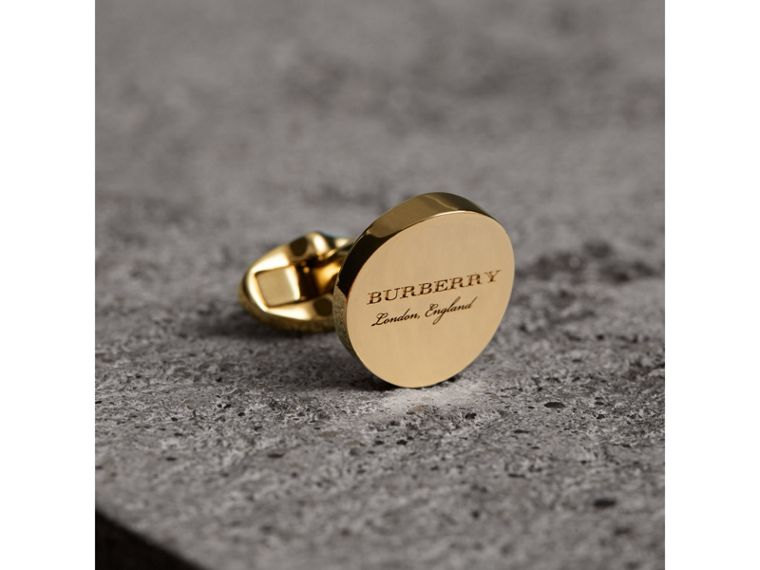 Engraved Motif Round Cufflinks in Light Gold - Men | Burberry United States - cell image 1
