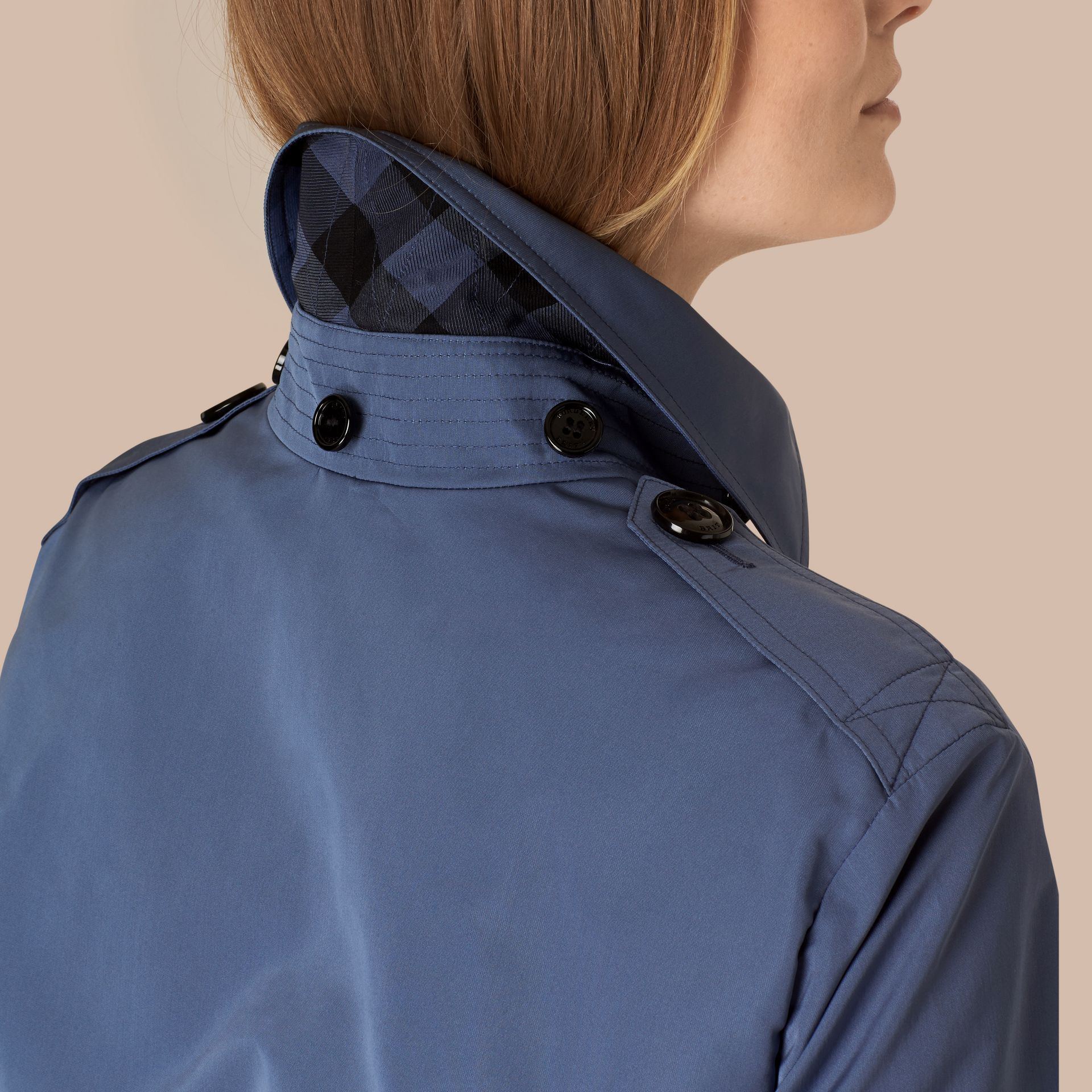 Pale lupin blue Showerproof Trench Coat with Detachable Hood Pale Lupin Blue - gallery image 2