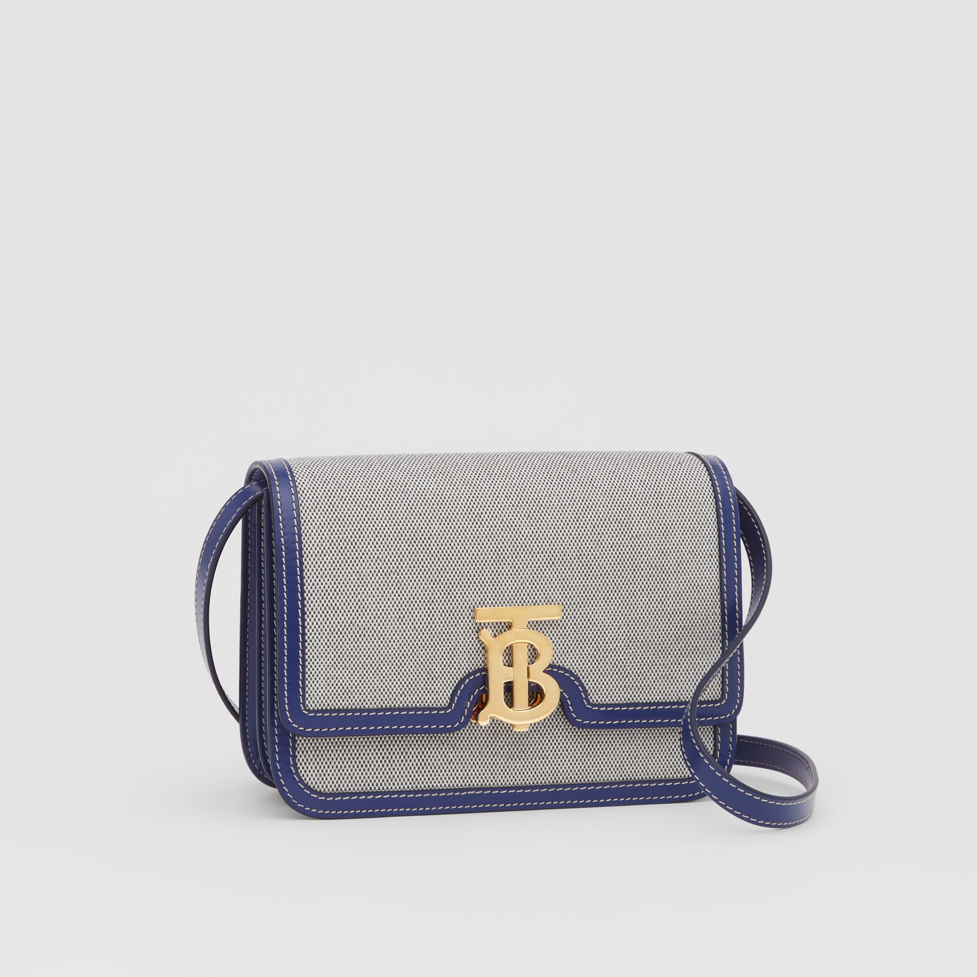 Small Two-tone Canvas and Leather TB Bag in Ink Navy - Women | Burberry - gallery image 6