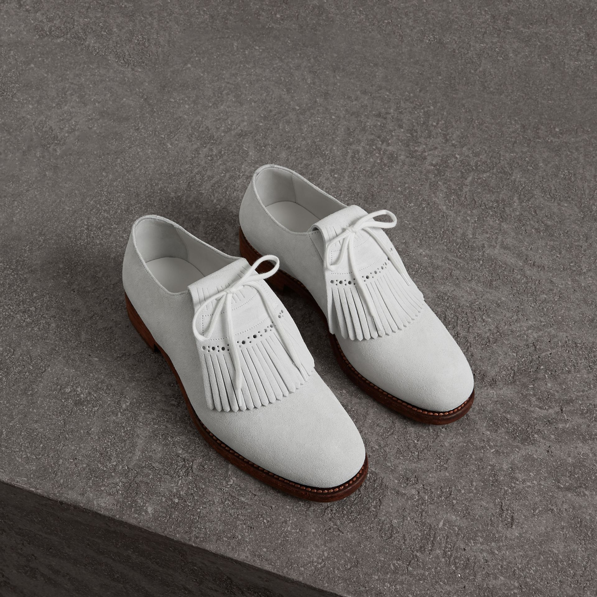 Lace-up Kiltie Fringe Suede Loafers in Off White - Men | Burberry Singapore - gallery image 0