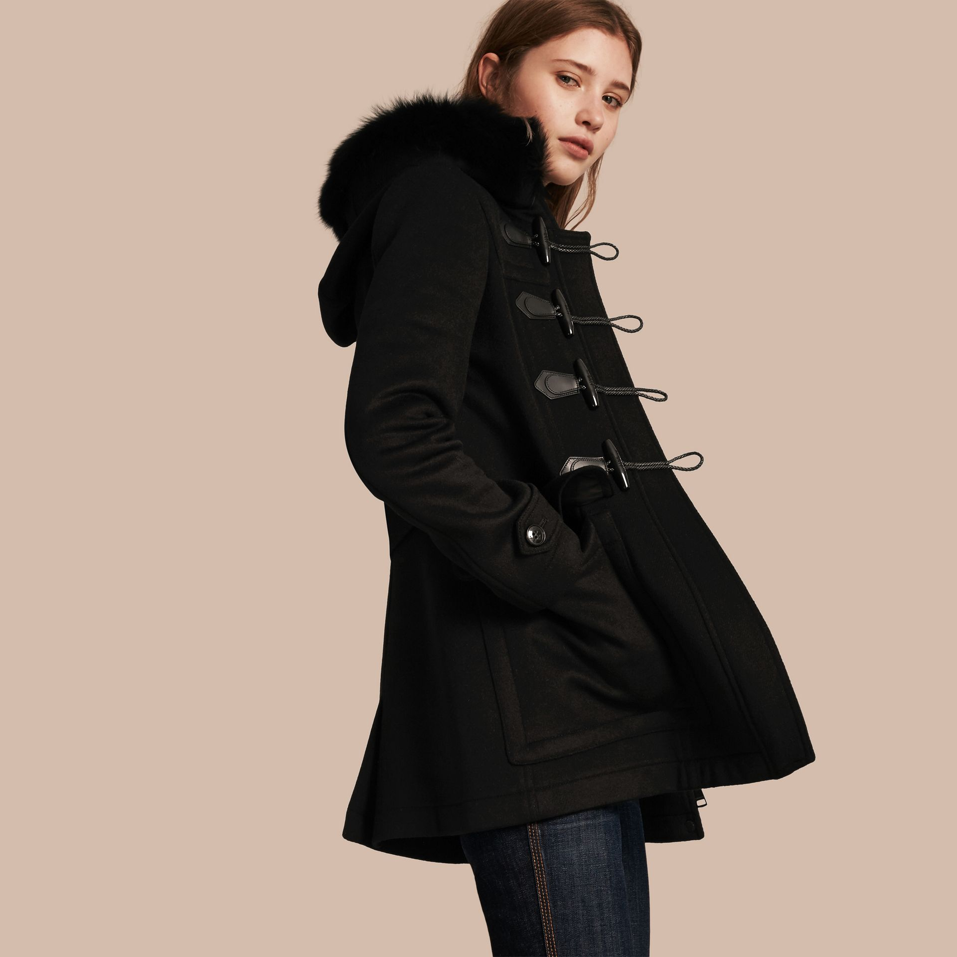 Detachable Fur Trim Wool Duffle Coat Black - gallery image 1