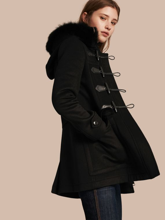 Detachable Fur Trim Wool Duffle Coat Black