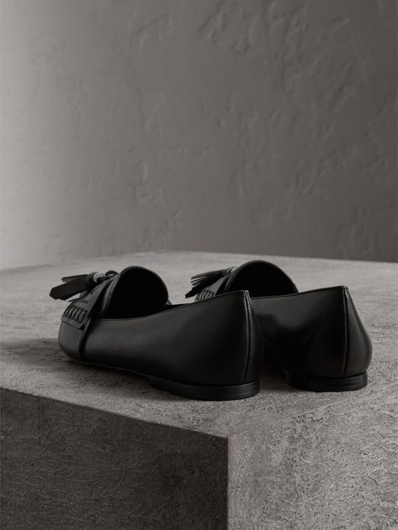 Tasselled Leather Loafers in Black - Women | Burberry - cell image 3