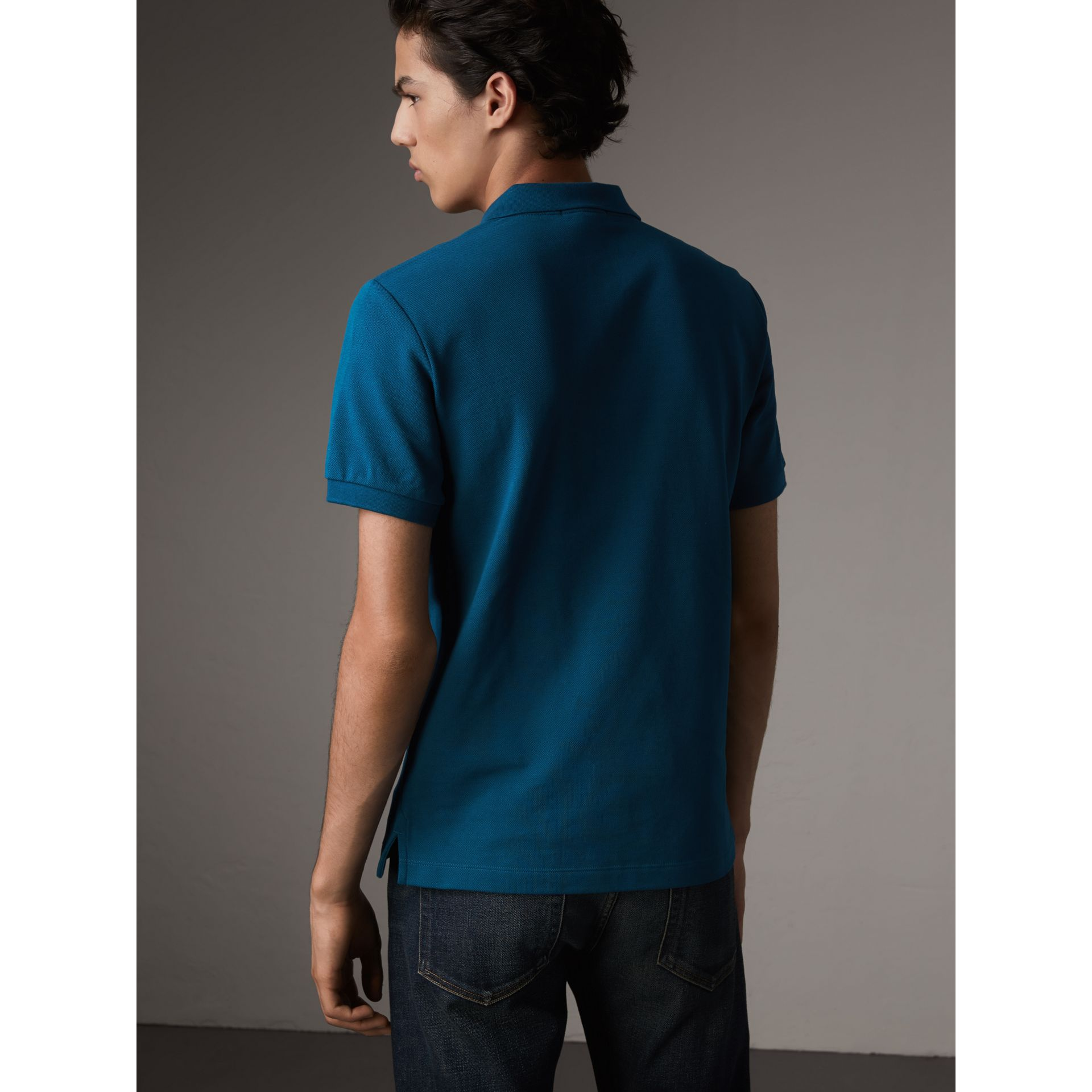 Check Placket Cotton Piqué Polo Shirt in Mineral Blue - Men | Burberry Singapore - gallery image 2