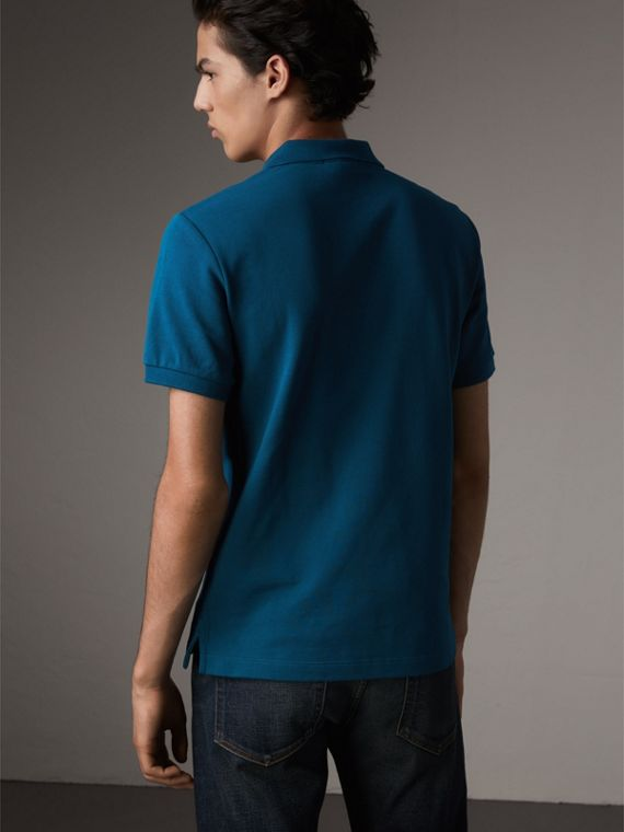 Check Placket Cotton Piqué Polo Shirt in Mineral Blue - Men | Burberry United Kingdom - cell image 2